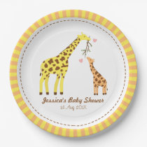 Stylish Colourful Giraffe Calf Baby Shower Party Paper Plate