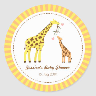 Stylish Colourful Giraffe Calf Baby Shower Party Round Sticker