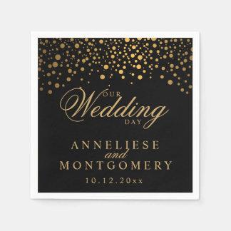Stylish Confetti Gold Dots on Black - Wedding Day Napkin