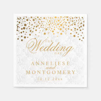 Stylish Confetti Gold Dots Our Wedding Day Napkin