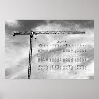Stylish Construction Crane 2017 Calendar Poster