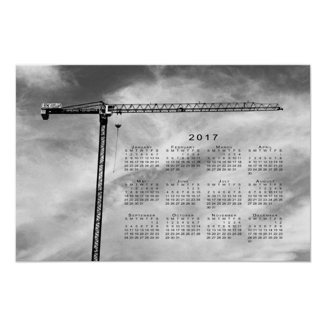 Stylish Construction Crane 2017 Calendar Poster