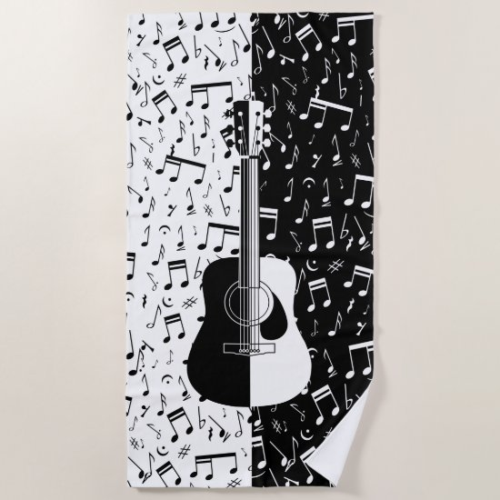 Stylish contemporary black and white guitar music beach towel