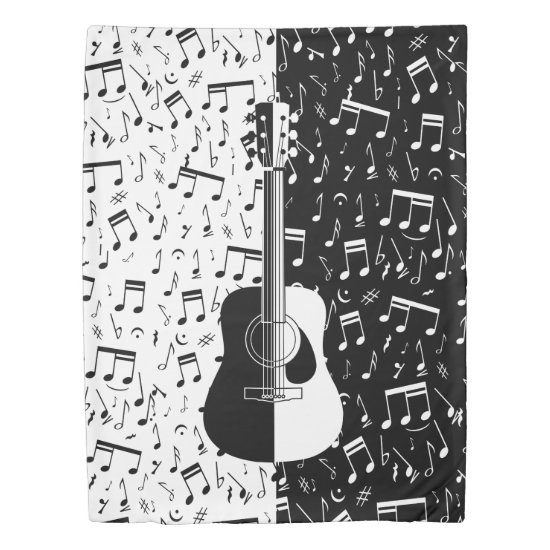 Stylish contemporary black and white guitar music duvet cover