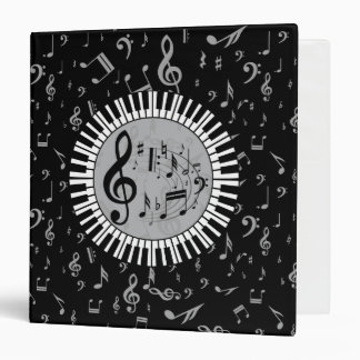 Stylish contemporary black white and gray circular 3 ring binder