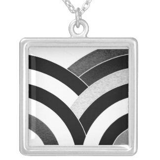 stylish contemporary black/white chevron silver plated necklace