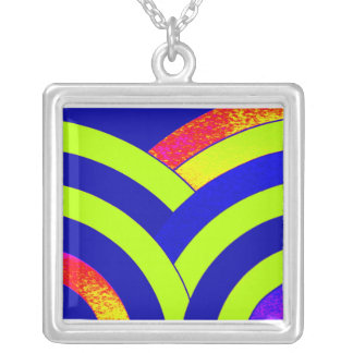 stylish contemporary blue,green,red chevron silver plated necklace