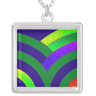 stylish contemporary chevron silver plated necklace