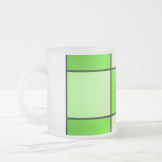 Stylish, Contemporary Green Checkered Frosted Glass Coffee Mug