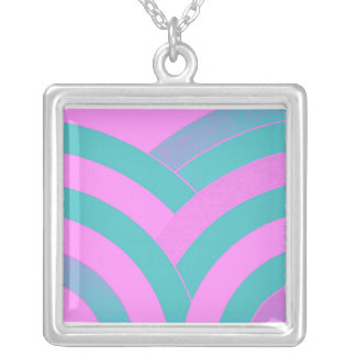 stylish contemporary green/pink chevron silver plated necklace