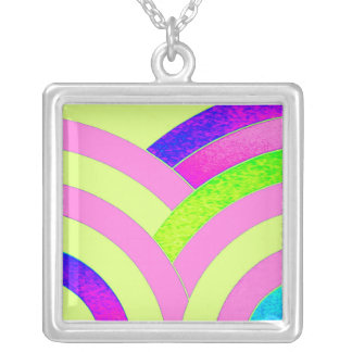 stylish contemporary pink/lime chevron silver plated necklace