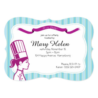 Stylish Cooking Party Personalized Invitation