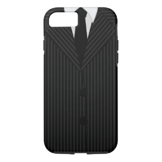 Stylish Cool Black Pinstripe Suit and Tie Tough iPhone 8/7 Case