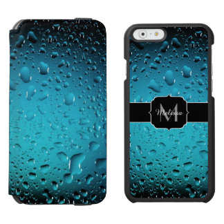 Stylish Cool Blue water drops Monogram iPhone 6/6s Wallet Case