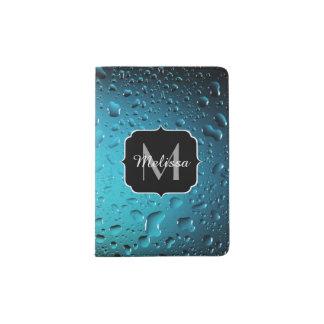 Stylish Cool Blue water drops Monogram Passport Holder