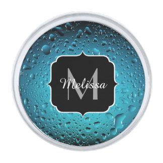 Stylish Cool Blue water drops Monogram Silver Finish Lapel Pin
