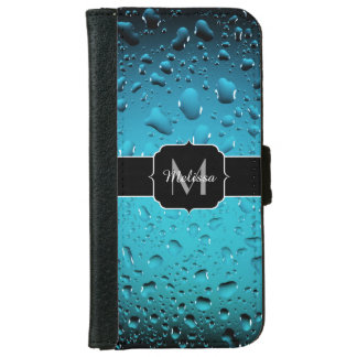 Stylish Cool Blue water drops Monogram Wallet Phone Case For iPhone 6/6s