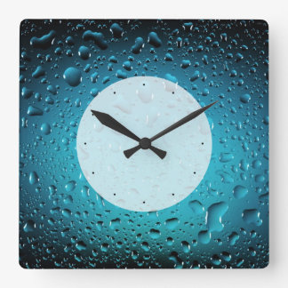 Stylish Cool Blue water drops Square Wall Clock