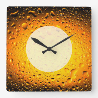 Stylish Cool Yellow water drops beer Square Wall Clock