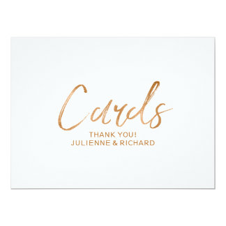 "Stylish Copper Lettered Custom ""Cards"" Sign Card"