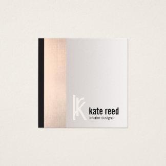 Stylish Copper Rose Gold Stripe Square Monogram Square Business Card