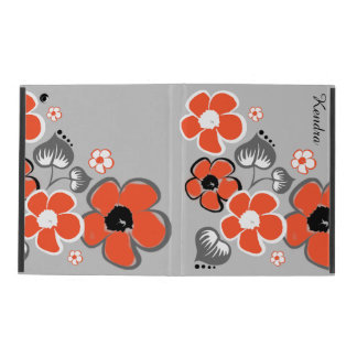Stylish Coral and Gray Floral iPad Case