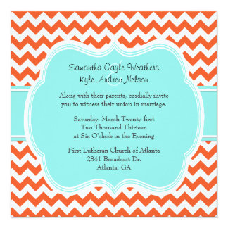 "Stylish Coral & Aquamarine Wedding Invitation 5.25"" Square Invitation Card"