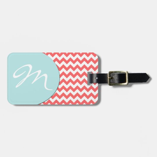 Stylish Coral Chevron and Monogram Luggage Tag