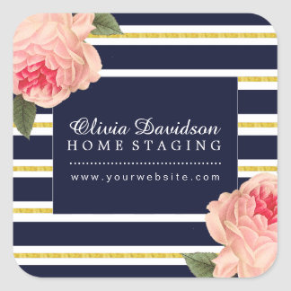 Stylish Coral Peonie with Navy Stripes Stickers