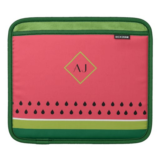 Stylish Coral Pink and Green Watermelon Striped iPad Sleeve