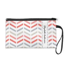 Stylish Coral Pink and White Chevron Pattern Wristlet Purse