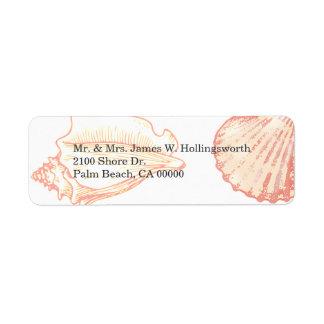 Stylish Coral Seashells Label