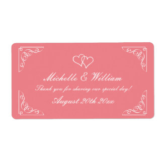 Stylish coral wedding wine or water bottle labels