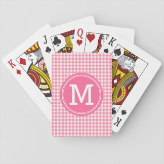 Stylish Country Gingham Pink Monogram Playing Cards