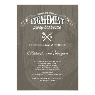 Stylish Country Rustic Wood Engagement Party BBQ Custom Invites