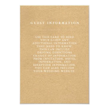 Beach Themed Stylish Country Wedding Guest Information Card