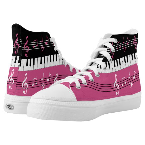 Stylish cranberry pink , black white music design High-Top sneakers