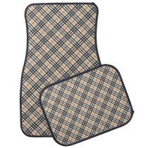 Stylish Crossed Plaid Check Pattern Car Floor Mat