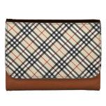 Stylish Crossed Plaid Check Pattern Women's Leather Wallets