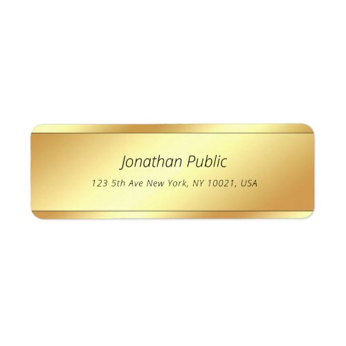 Stylish Cursive Text Glamour Gold Simple Template Label