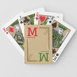stylish custom initials - personalized red green bicycle playing cards