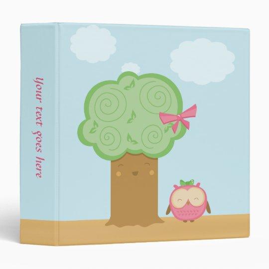 Stylish cute kawaii cartoon tree and owl binder