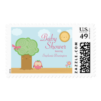 Stylish cute kawaii tree owl baby shower stamps