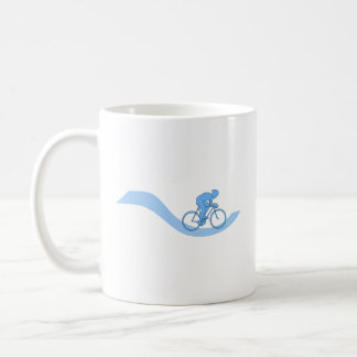 Stylish Cycling Themed Design in Blue. Coffee Mugs