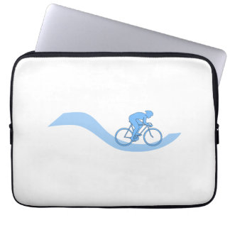 Stylish Cycling Themed Design in Blue. Computer Sleeve