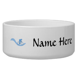 Stylish Cycling Themed Design in Blue. Pet Bowls