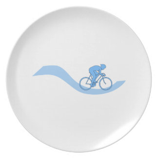 Stylish Cycling Themed Design in Blue. Dinner Plate