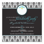 "Stylish Damask Bachelorette Invite (aqua) 5.25"" Square Invitation Card"