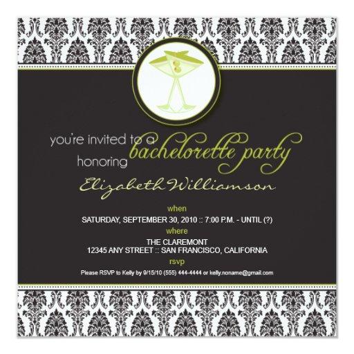 "Stylish Damask Bachelorette Invite (lime) 5.25"" Square Invitation Card"
