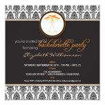 """Stylish Damask Bachelorette Invite (orange) 5.25"""" Square Invitation Card"""